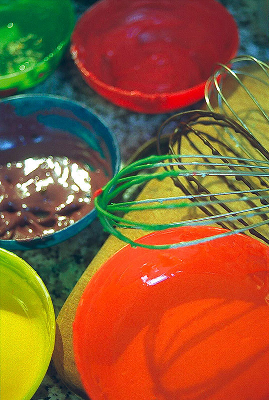Pots de peinture de chocolat